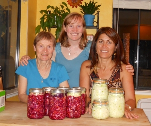 My mom, me and Anna with Sauerkraut jars
