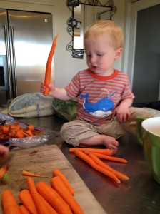 Ethan helping us cook