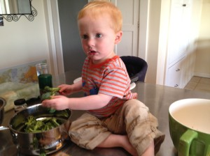 Ethan helping with the broccoli