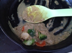 Yellow Curry with Broccoli added